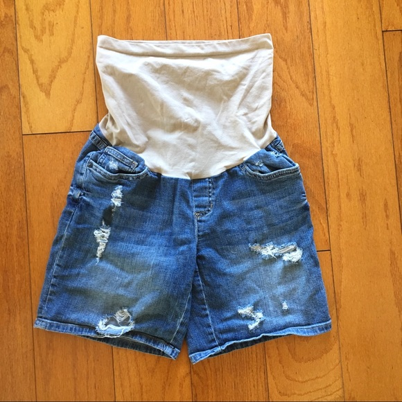 A Pea in the Pod Pants - Maternity Women Jean denim shorts small stretchy
